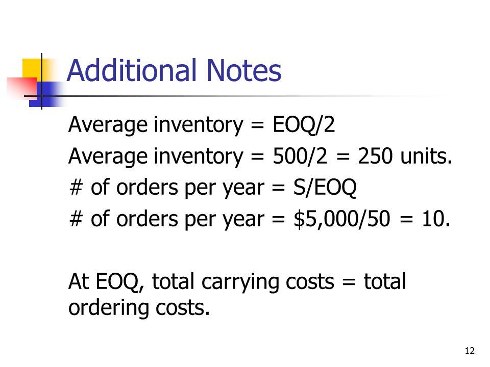 12 Additional Notes Average inventory = EOQ/2 Average inventory = 500/2 = 250 units.