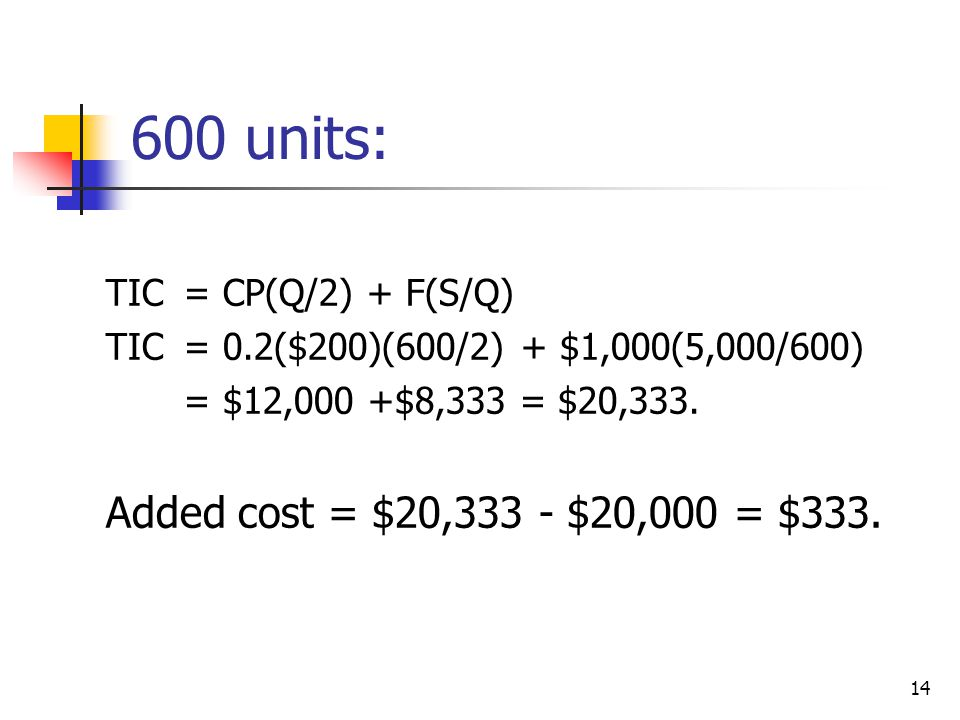 14 600 units: TIC= CP(Q/2) + F(S/Q) TIC= 0.2($200)(600/2) + $1,000(5,000/600) = $12,000 +$8,333 = $20,333.