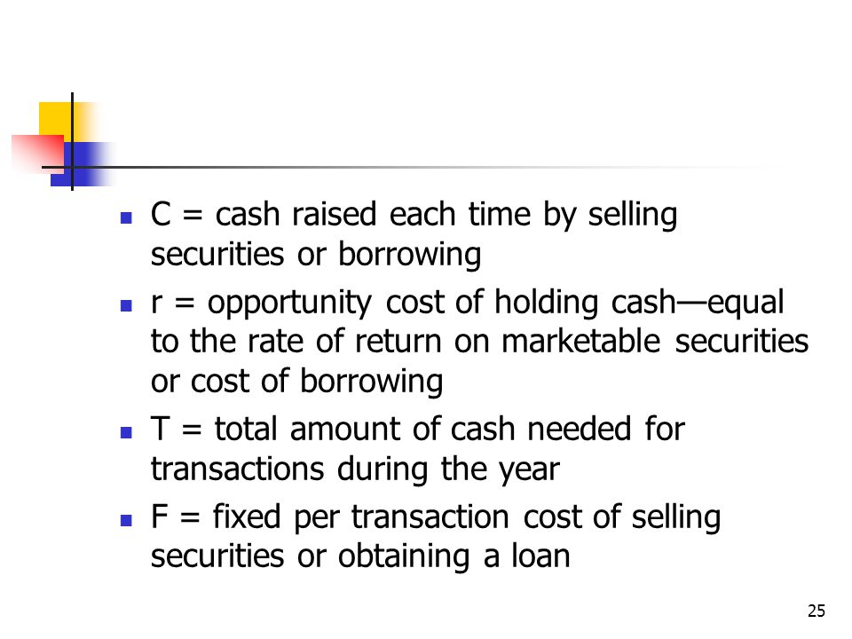 25 C = cash raised each time by selling securities or borrowing r = opportunity cost of holding cash—equal to the rate of return on marketable securities or cost of borrowing T = total amount of cash needed for transactions during the year F = fixed per transaction cost of selling securities or obtaining a loan