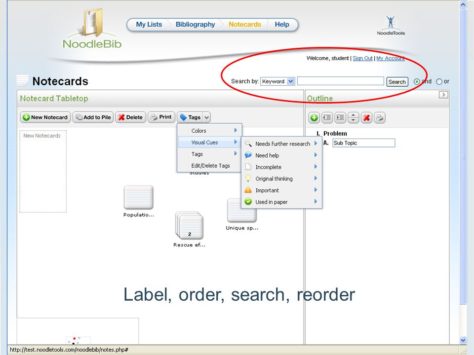 Label, order, search, reorder