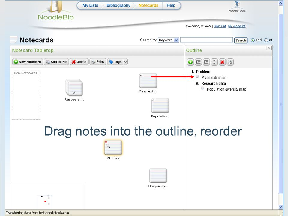 Drag notes into the outline, reorder