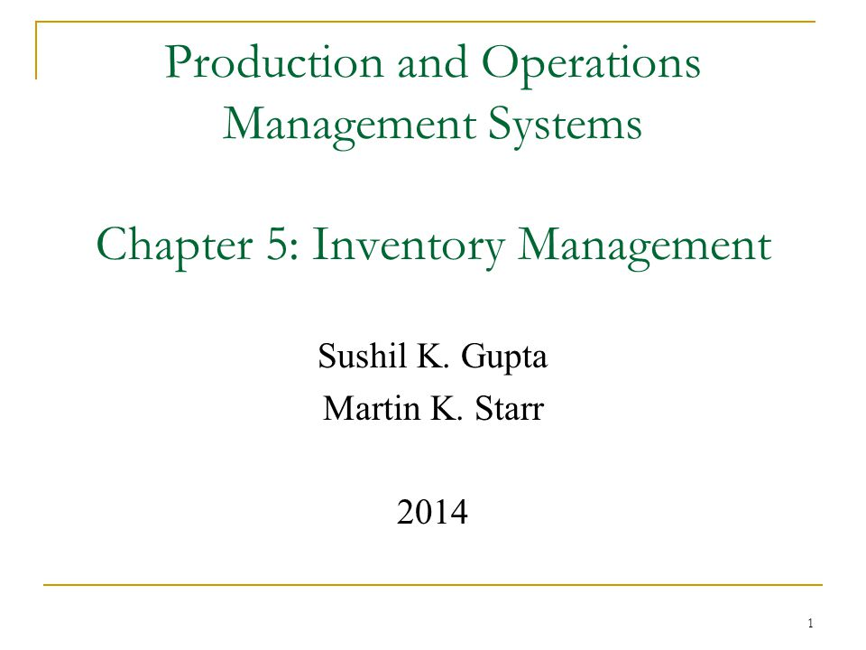 After reading this chapter, you should be able to :  Explain what inventory management entails.