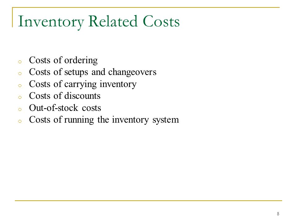 9 Data for Inventory Problems D: Annual Demand (units per year) C: Unit Price (purchase price of the item) S: Ordering or Setup Cost per Order H: Inventory Holding (Carrying) Cost/unit per year i: H may be given as i percent of C TC: Total Annual Cost TVC: Total Annual Variable Cost Q: Order Quantity EOQ: Economic Order Quantity (optimal value of Q)
