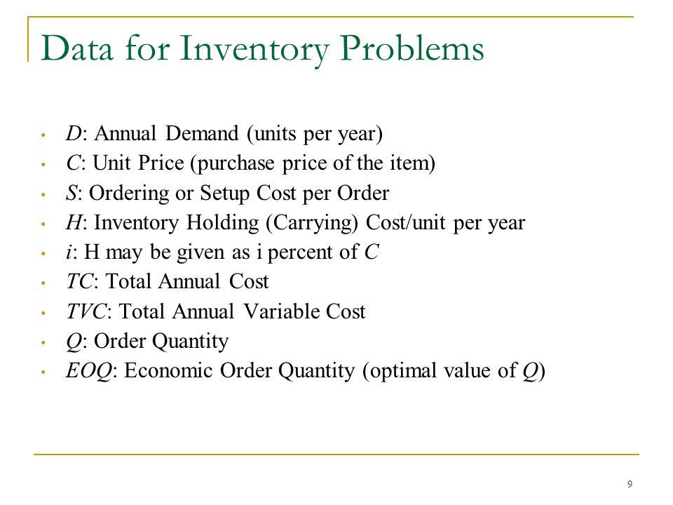 10 Economic Order Quantity (EOQ) Model