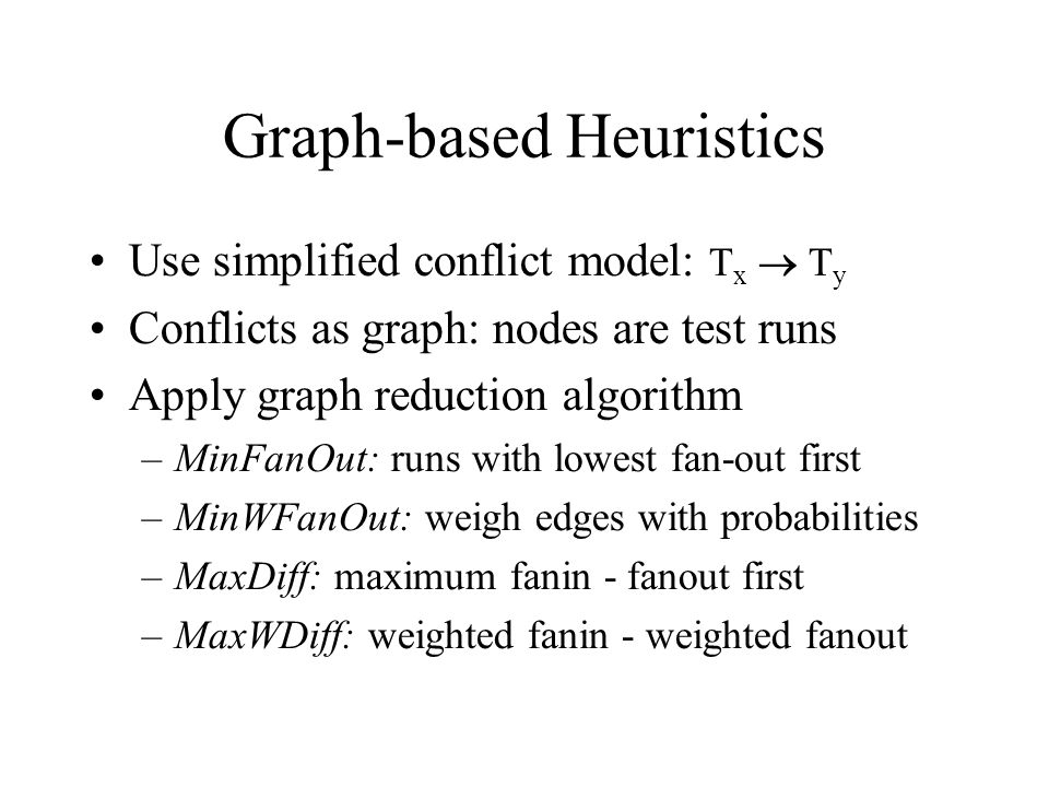 Graph-based Heuristics Use simplified conflict model: T x  T y Conflicts as graph: nodes are test runs Apply graph reduction algorithm –MinFanOut: runs with lowest fan-out first –MinWFanOut: weigh edges with probabilities –MaxDiff: maximum fanin - fanout first –MaxWDiff: weighted fanin - weighted fanout