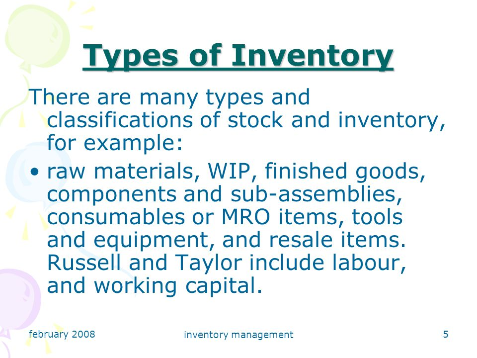 february 2008 inventory management 6 Reasons for Holding Stock There are many reasons for holding stock (see below), however it should be remembered that the average cost of holding stock is 25% of its value.