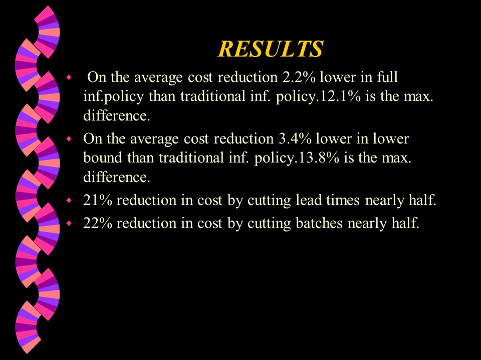 RESULTS w On the average cost reduction 2.2% lower in full inf.policy than traditional inf.