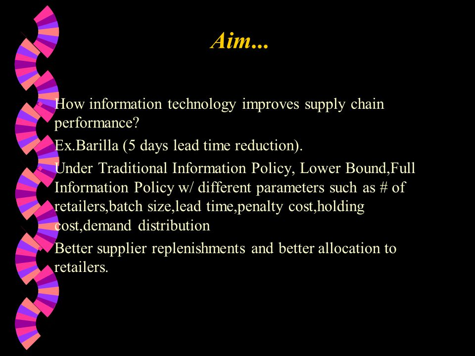 Aim... w How information technology improves supply chain performance.