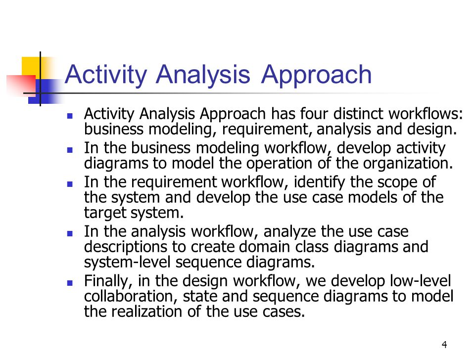 4 Activity Analysis Approach Activity Analysis Approach has four distinct workflows: business modeling, requirement, analysis and design. In the busin