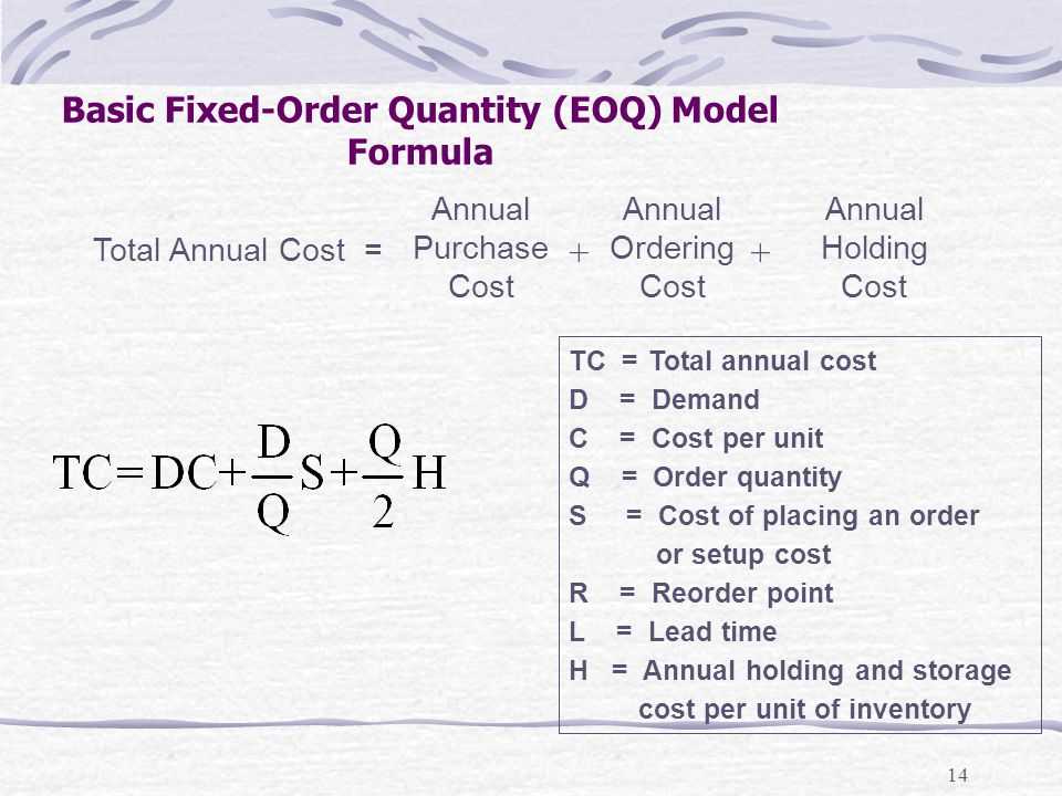 14 Basic Fixed-Order Quantity (EOQ) Model Formula Total Annual Cost = Annual Purchase Cost Annual Ordering Cost Annual Holding Cost ++ TC =Total annua