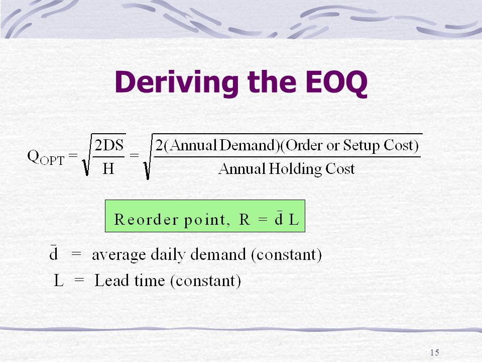 15 Deriving the EOQ