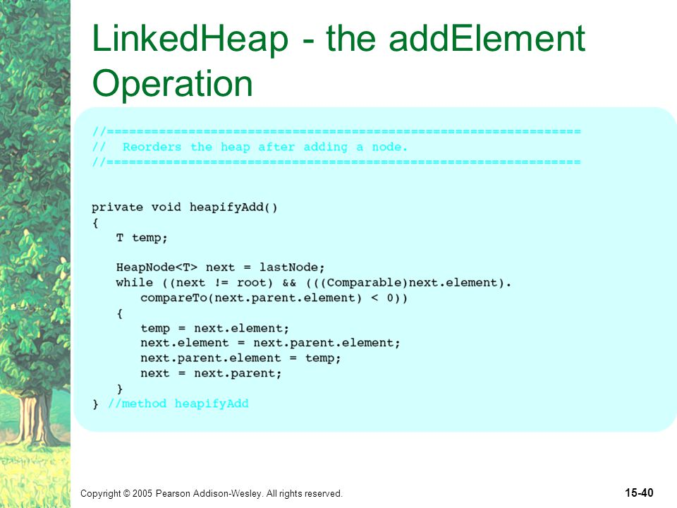 Copyright © 2005 Pearson Addison-Wesley. All rights reserved. 15-40 LinkedHeap - the addElement Operation