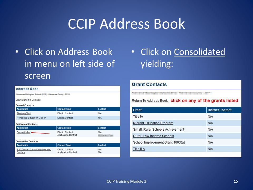 CCIP Address Book Click on Address Book in menu on left side of screen Click on Consolidated yielding: CCIP Training Module 315