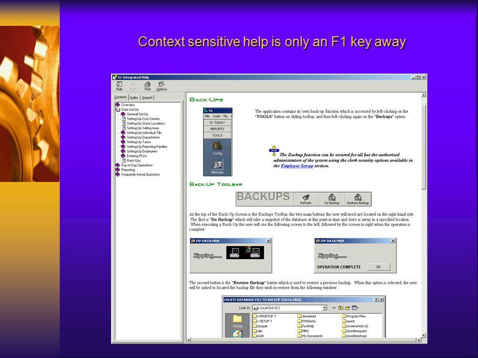 Context sensitive help is only an F1 key away