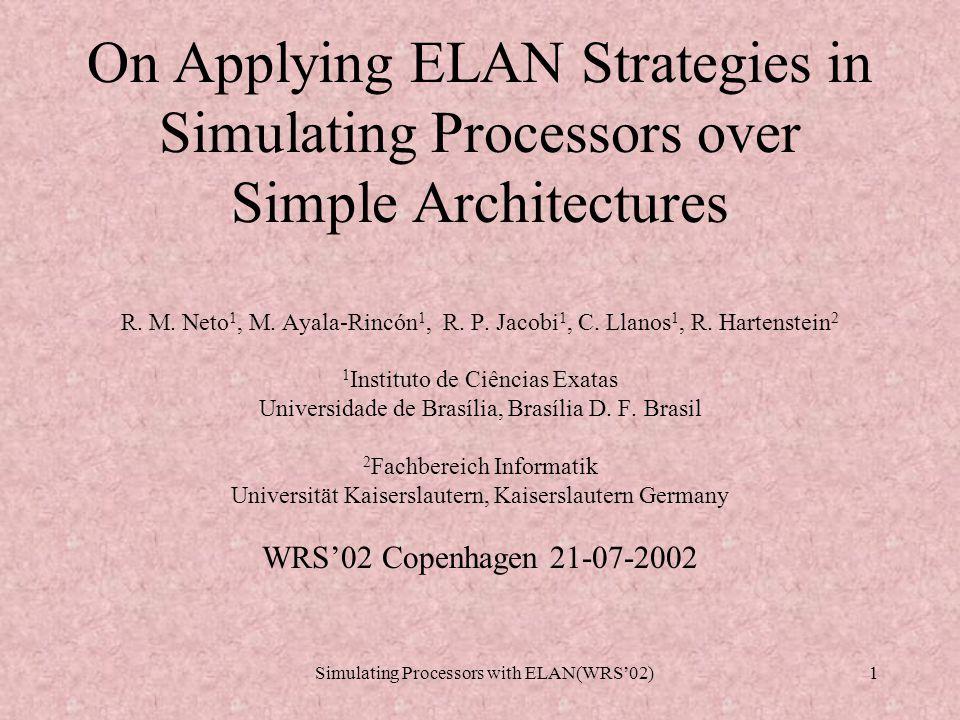 Simulating Processors with ELAN(WRS'02)11 Specifying Processors Set of rewrite rules R B [Loadc] Sys(m,Proc(ia,rf,prog)) => Sys(m,Proc(ia+1,insertRF(rf,r,v),prog)) where instIa :=() selectinst(prog,ia) if isinstLoadc(instIa) where r :=() nameofLoadc(instIa) where v :=() valueofLoadc(instIa) end [Loadpc] Sys(m,Proc(ia,rf,prog)) => Sys(m,Proc(ia+1,insertRF(rf,r,ia),prog)) where instIa :=() selectinst(prog,ia) if isinstLoadpc(instIa) where r :=() nameofLoadpc(instIa) end [Op] Sys(m,Proc(ia,rf,prog)) => Sys(m,Proc(ia+1,insertRF(rf,r,v),prog)) where instIa :=() selectinst(prog,ia) if isinstOp(instIa) where r1 :=() reg1ofOp(instIa) where r2 :=() reg2ofOp(instIa) where r :=() nameofOp(instIa) where v :=() valueofOp(r1,r2,rf) end [Jz] Sys(m,Proc(ia,rf,prog)) => Sys(m,Proc(nia,rf,prog)) where instIa :=() selectinst(prog,ia) if isinstJz(instIa) where r1:=() reg1ofJz(instIa) where r2:=() reg2ofJz(instIa) choose try where nia:=()ia+1 if valueofReg(r1,rf) != 0 try where nia:=()valueofReg(r2,rf) if valueofReg(r1,rf) == 0 end [Load] Sys(m,Proc(ia,rf,prog)) => Sys(m,Proc(ia+1,insertRF(rf,r0,v0),prog)) where inst :=() selectinst(prog,ia) if isinstLoad(inst) where r0 :=() nameofLoad(inst) where v0 :=() getMem(inst,rf,m) end [Store] Sys(m,Proc(ia,rf,prog)) => Sys(insertMEM(m,valueofReg(rA,rf), valueofReg(rB,rf)),Proc(ia+1,rf,prog)) where inst :=() selectinst(prog,ia) if isinstStore(inst) where rA :=() nameofStoreR1(inst) where rB :=() nameofStoreR2(inst) end