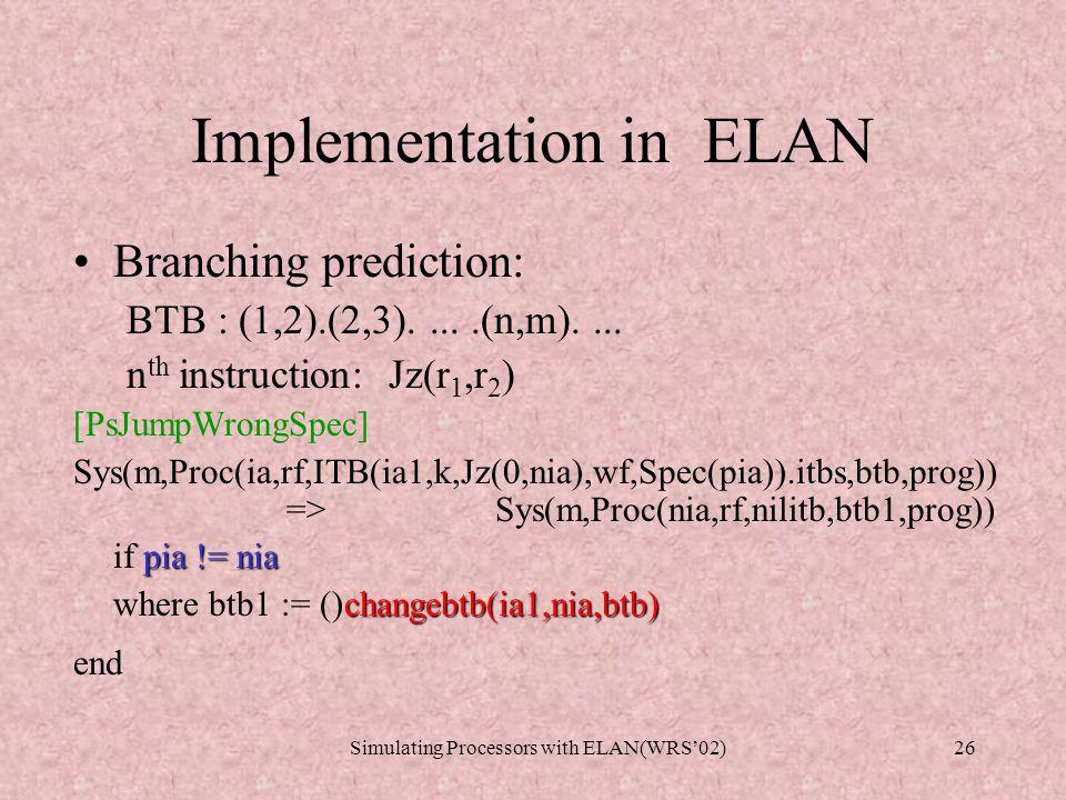 Simulating Processors with ELAN(WRS'02)25 Implementation in ELAN Branch TakenBranch Not Taken Prediction Method(1-Bit) Taken Not taken Taken