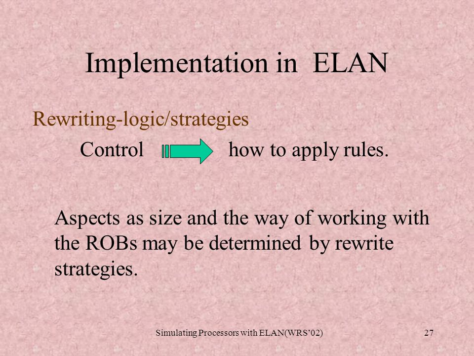 Simulating Processors with ELAN(WRS'02)26 Implementation in ELAN Branching prediction: BTB : (1,2).(2,3).....(n,m)....