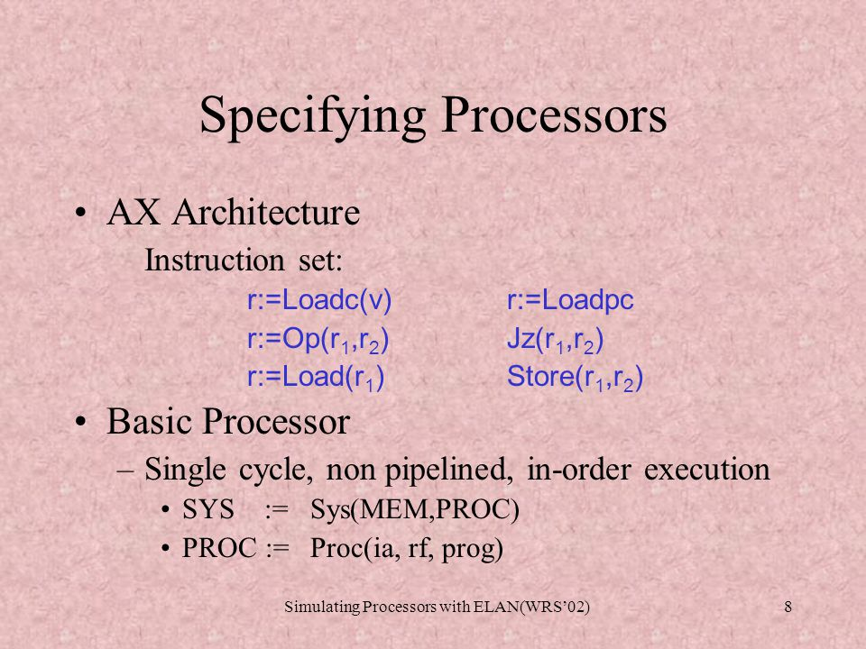 Simulating Processors with ELAN(WRS'02)8 Specifying Processors AX Architecture Instruction set: r:=Loadc(v)r:=Loadpc r:=Op(r 1,r 2 ) Jz(r 1,r 2 ) r:=Load(r 1 ) Store(r 1,r 2 ) Basic Processor –Single cycle, non pipelined, in-order execution SYS := Sys(MEM,PROC) PROC := Proc(ia, rf, prog)