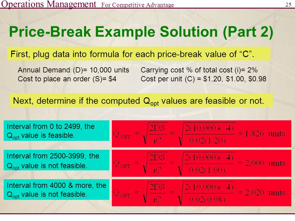 Operations Management For Competitive Advantage 25 Price-Break Example Solution (Part 2) Annual Demand (D)= 10,000 units Cost to place an order (S)= $