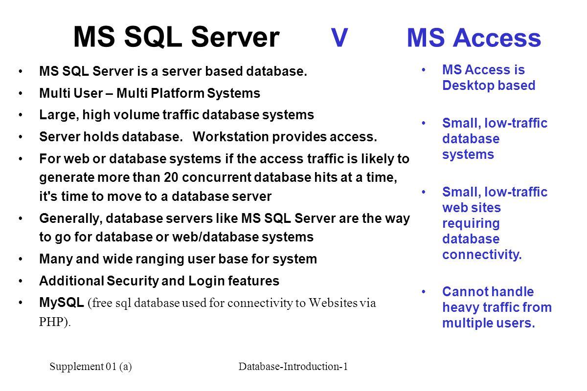 Supplement 01 (a)Database-Introduction-1 MS SQL Server is a server based database.