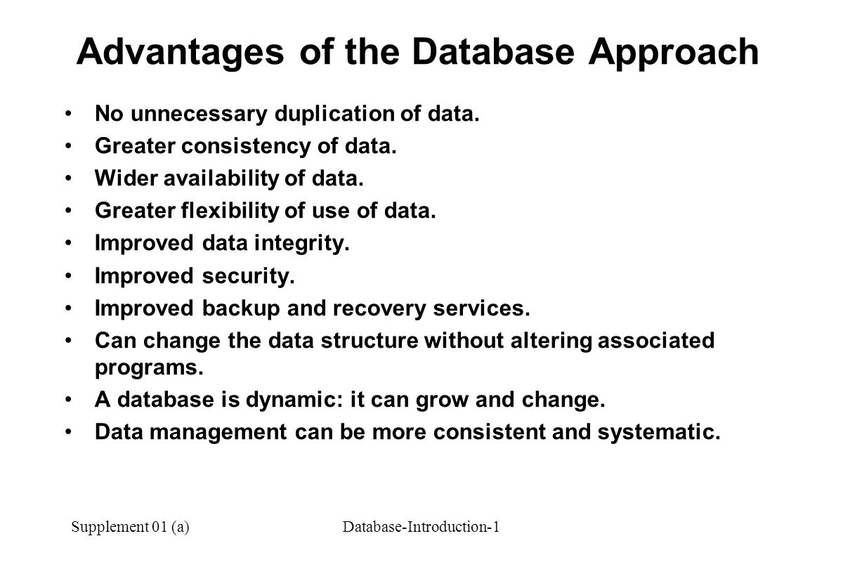 Supplement 01 (a)Database-Introduction-1 Advantages of the Database Approach No unnecessary duplication of data.