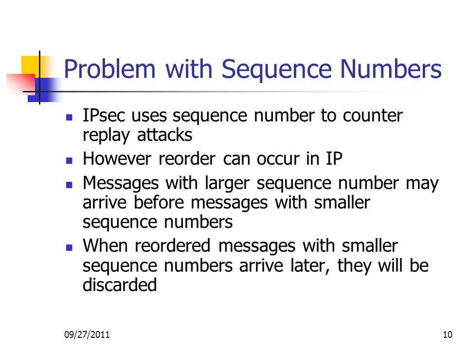 09/27/201110 Problem with Sequence Numbers IPsec uses sequence number to counter replay attacks However reorder can occur in IP Messages with larger s