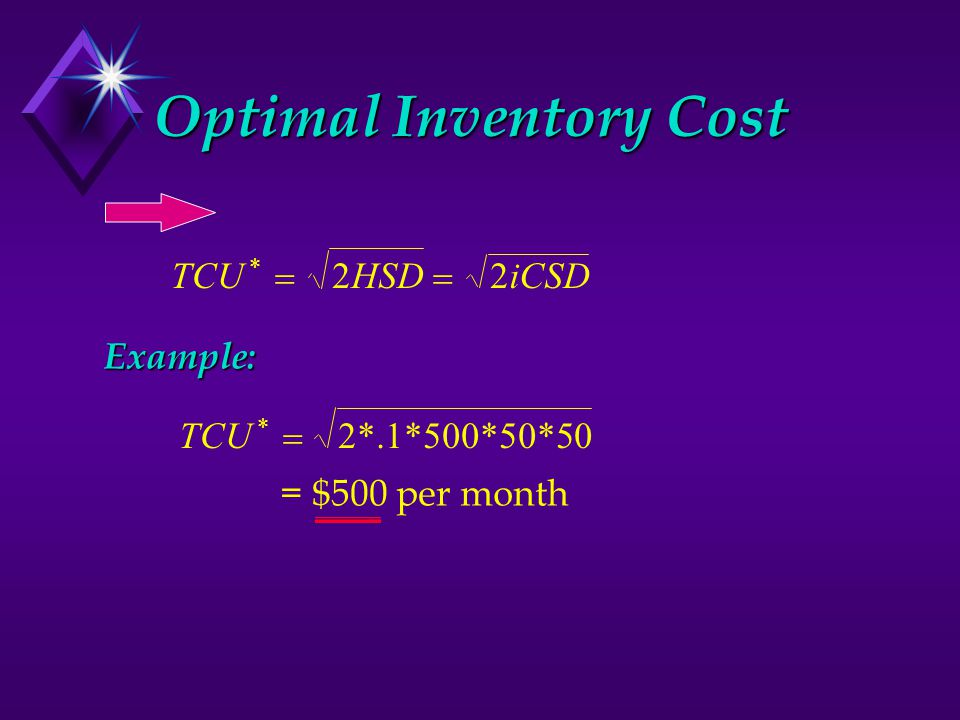 Optimal Inventory Cost TCUHSDiCSD *  22Example: 2*.1*500*50*50TCU *  = $500 per month