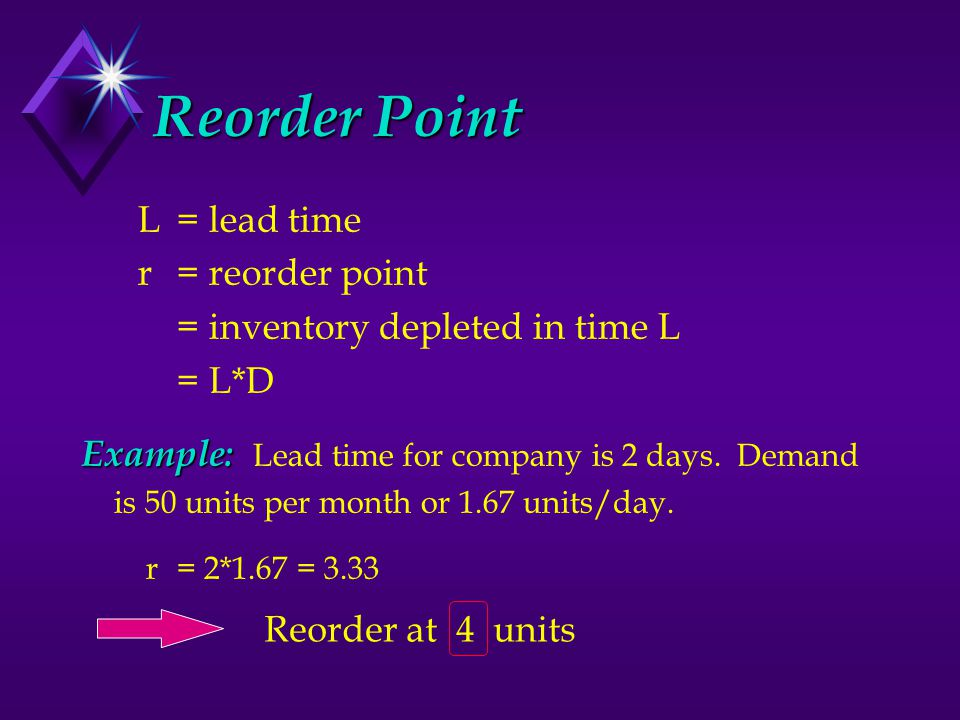 Reorder Point L= lead time r = reorder point = inventory depleted in time L = L*D Example: Example: Lead time for company is 2 days.