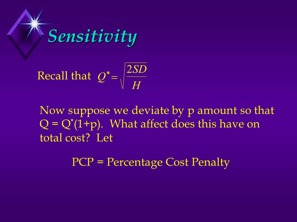 Sensitivity Q*Q*  SD H 2 Recall that Now suppose we deviate by p amount so that Q = Q * (1+p). What affect does this have on total cost? Let PCP = P