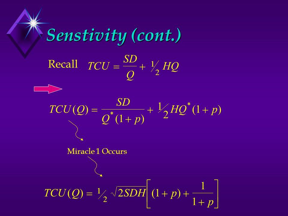 Senstivity (cont.) TCUQ SD Qp HQp() () () * *    1 1 2 1TCU SD Q HQ  1 2 Recall Miracle 1 Occurs 2TCUQSDHp p ()()         1 2 1 1 1