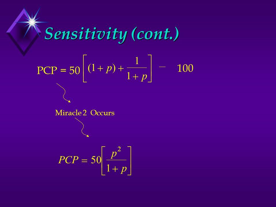 Sensitivity (cont.) PCP = 50 p p ()         1 1 1 100 Miracle 2 Occurs PCP p p         50 1 2