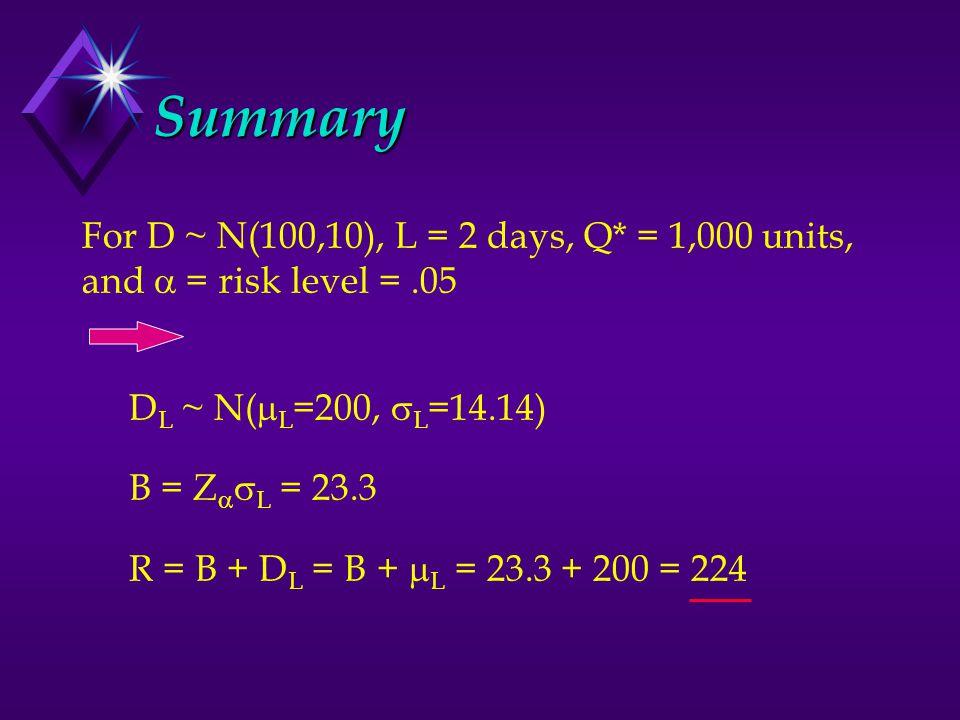 Summary For D ~ N(100,10), L = 2 days, Q* = 1,000 units, and  = risk level =.05 D L ~ N(  L =200,  L =14.14) B = Z   L = 23.3 R = B + D L = B +  L = 23.3 + 200 = 224