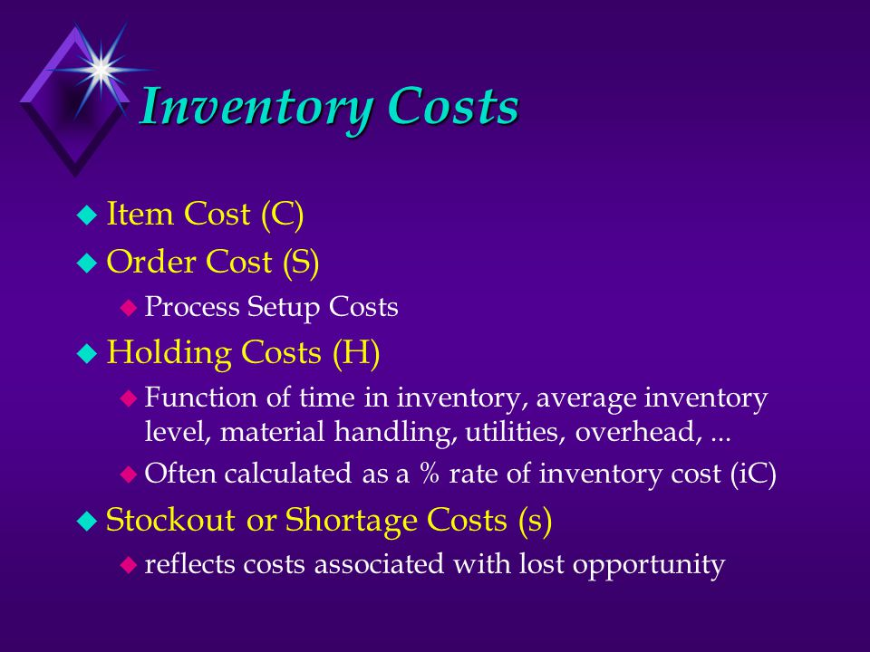 Inventory Costs u Item Cost (C) u Order Cost (S) u Process Setup Costs u Holding Costs (H) u Function of time in inventory, average inventory level, material handling, utilities, overhead,...