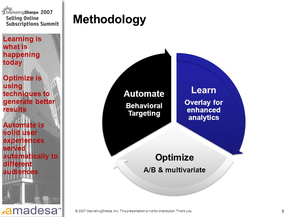 More data on this topic available from:: 5 Methodology Learn Overlay for enhanced analytics Optimize A/B & multivariate Automate Behavioral Targeting © 2007 MarketingSherpa, Inc.