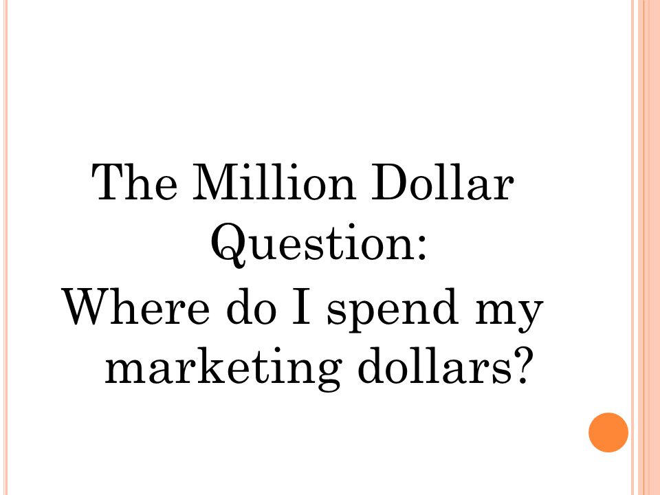 The Million Dollar Question: Where do I spend my marketing dollars