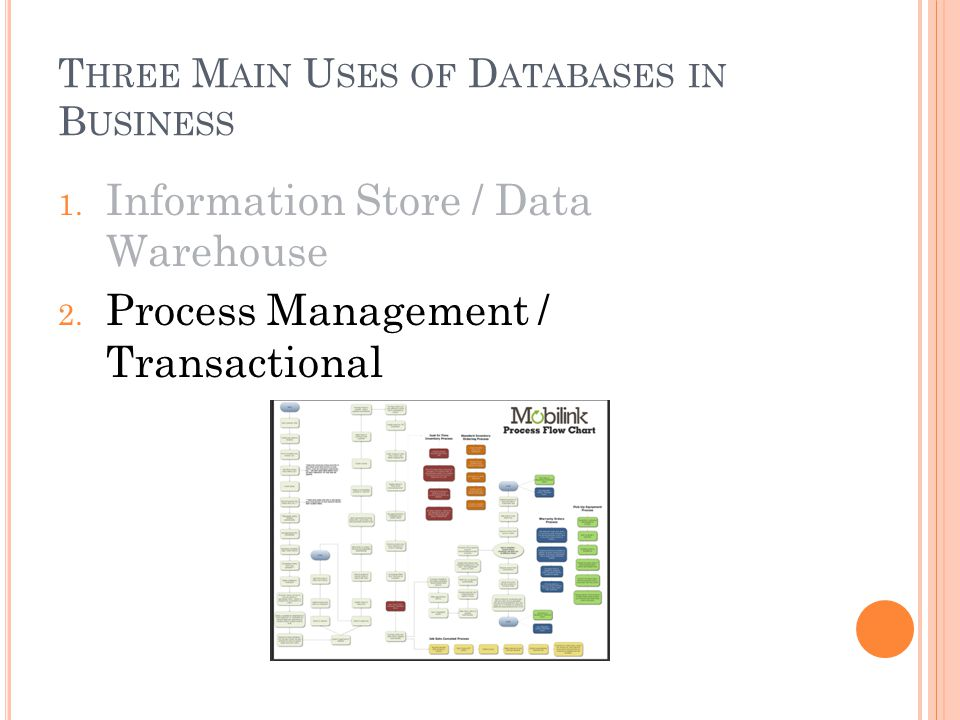 T HREE M AIN U SES OF D ATABASES IN B USINESS 1. Information Store / Data Warehouse 2.