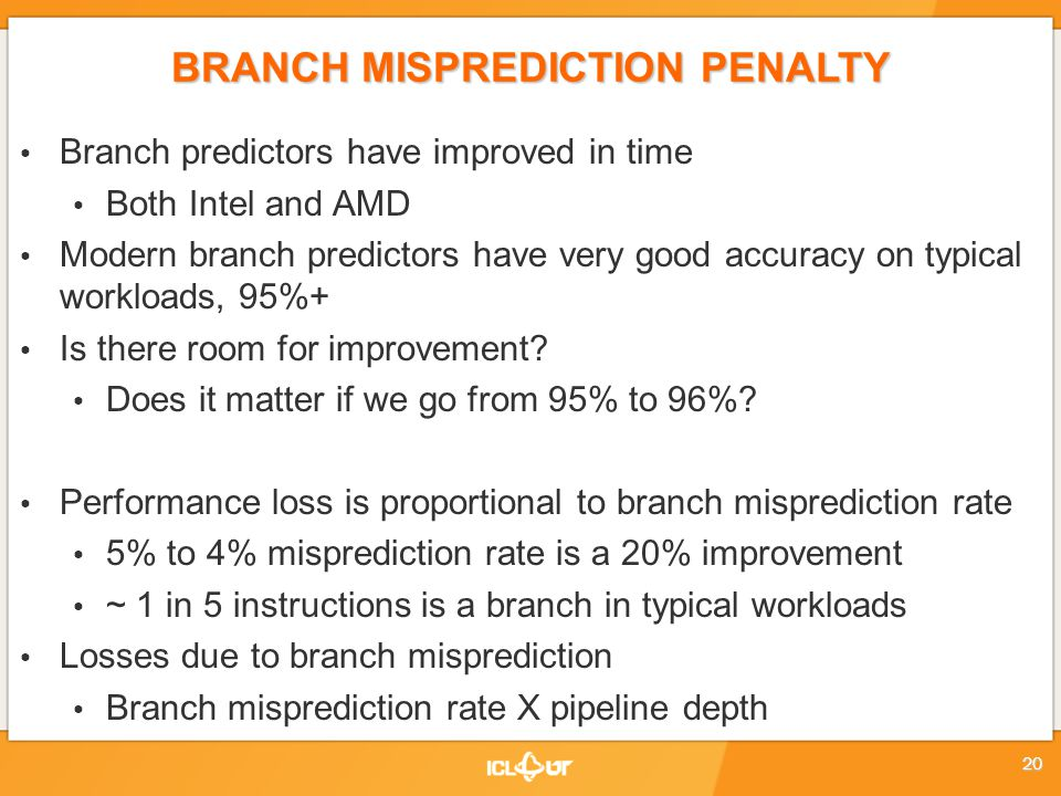 BRANCH MISPREDICTION PENALTY Branch predictors have improved in time Both Intel and AMD Modern branch predictors have very good accuracy on typical wo