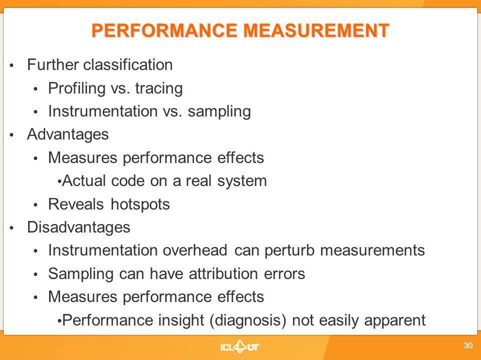 PERFORMANCE MEASUREMENT Further classification Profiling vs.