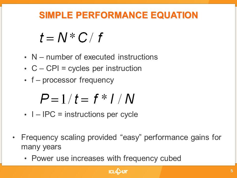 SIMPLE PERFORMANCE EQUATION N – affected by implementation algorithm, compiler, machine instruction set (e.g.