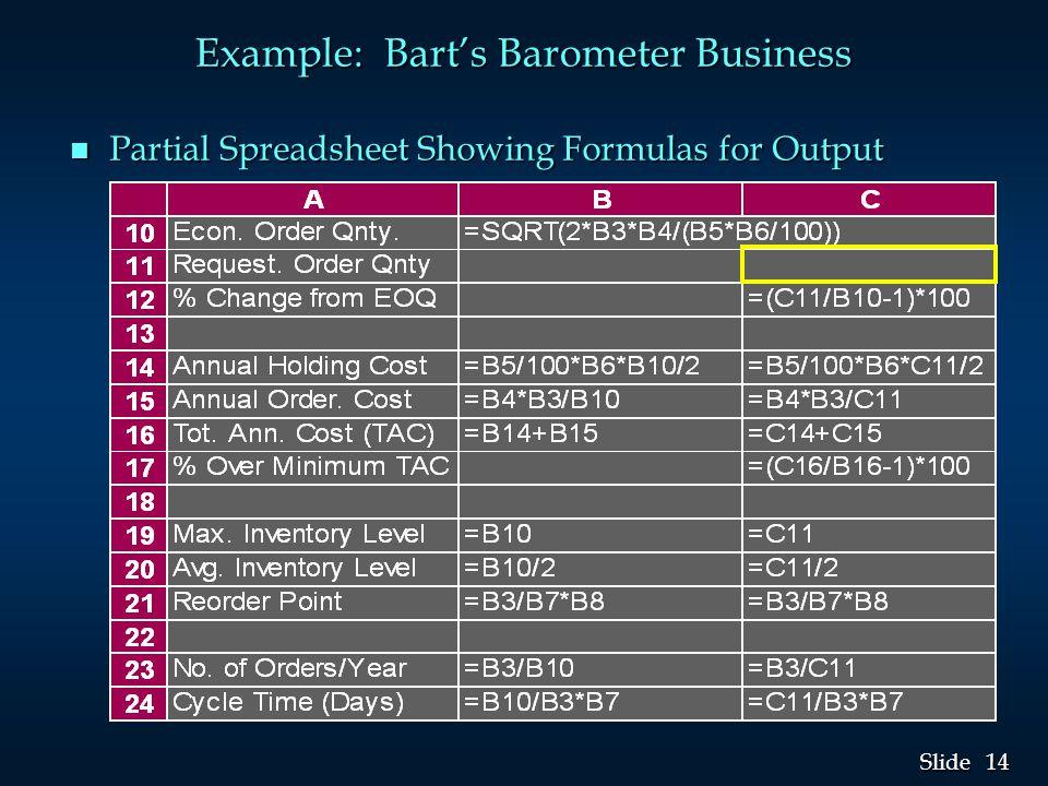 14 Slide Example: Bart's Barometer Business n Partial Spreadsheet Showing Formulas for Output