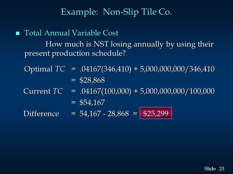 23 Slide Example: Non-Slip Tile Co.