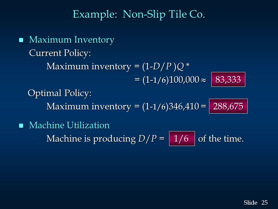 25 Slide Example: Non-Slip Tile Co. n Maximum Inventory Current Policy: Maximum inventory = (1- D / P ) Q * = (1- 1/6 )100,000  83,333 = (1- 1/6 )100