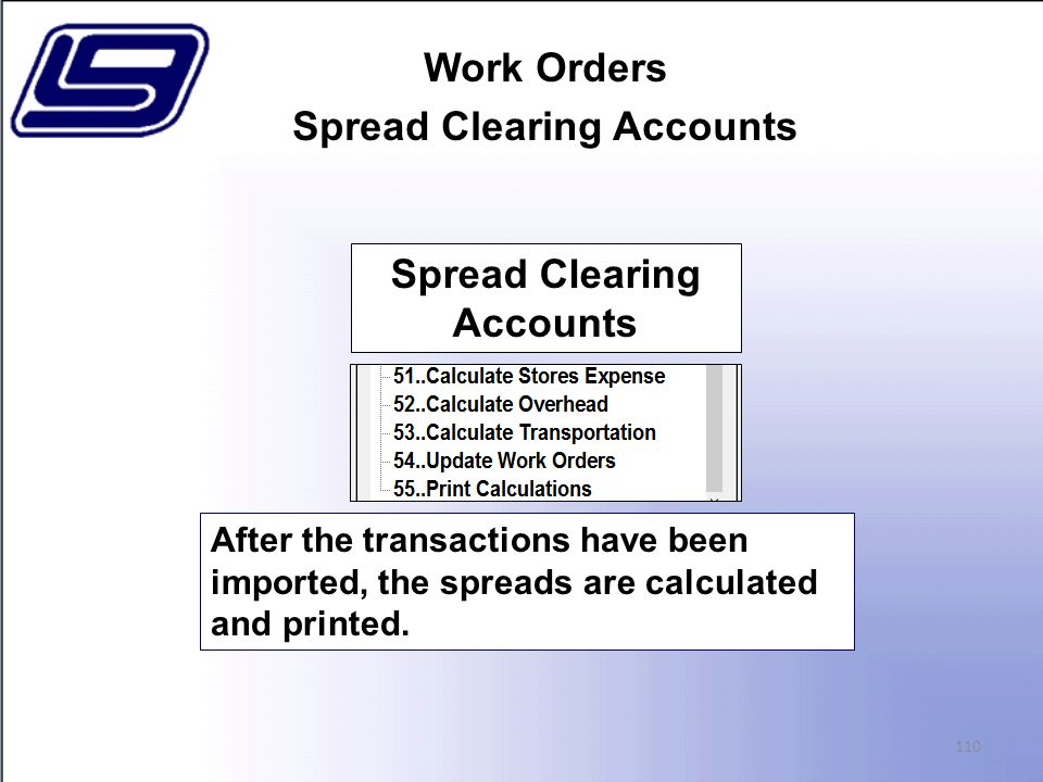 Work Orders Spread Clearing Accounts 110 After the transactions have been imported, the spreads are calculated and printed.