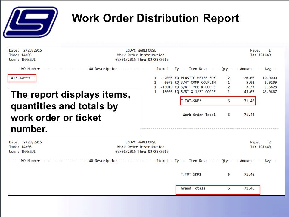The report displays items, quantities and totals by work order or ticket number.