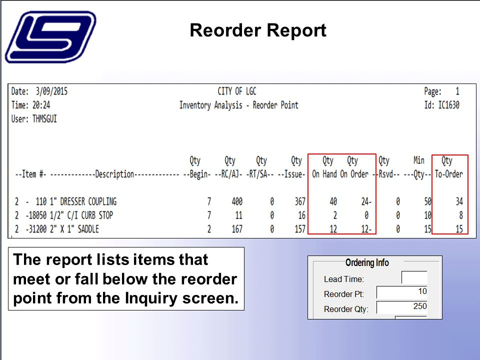 The report lists items that meet or fall below the reorder point from the Inquiry screen.