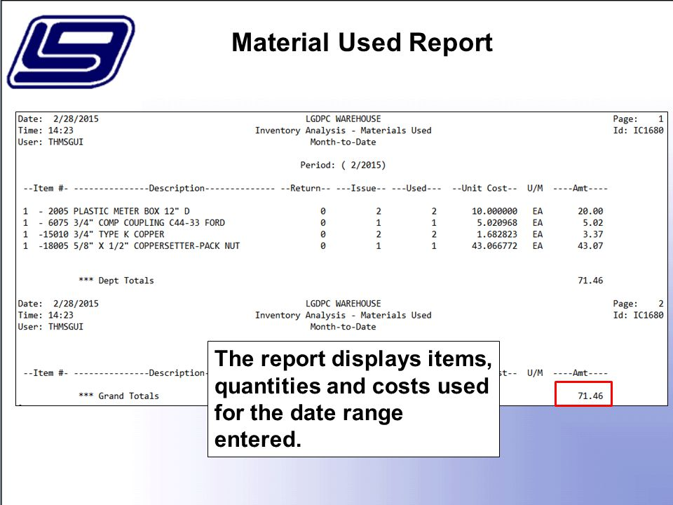 The report displays items, quantities and costs used for the date range entered.