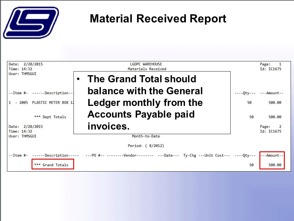 The Grand Total should balance with the General Ledger monthly from the Accounts Payable paid invoices.