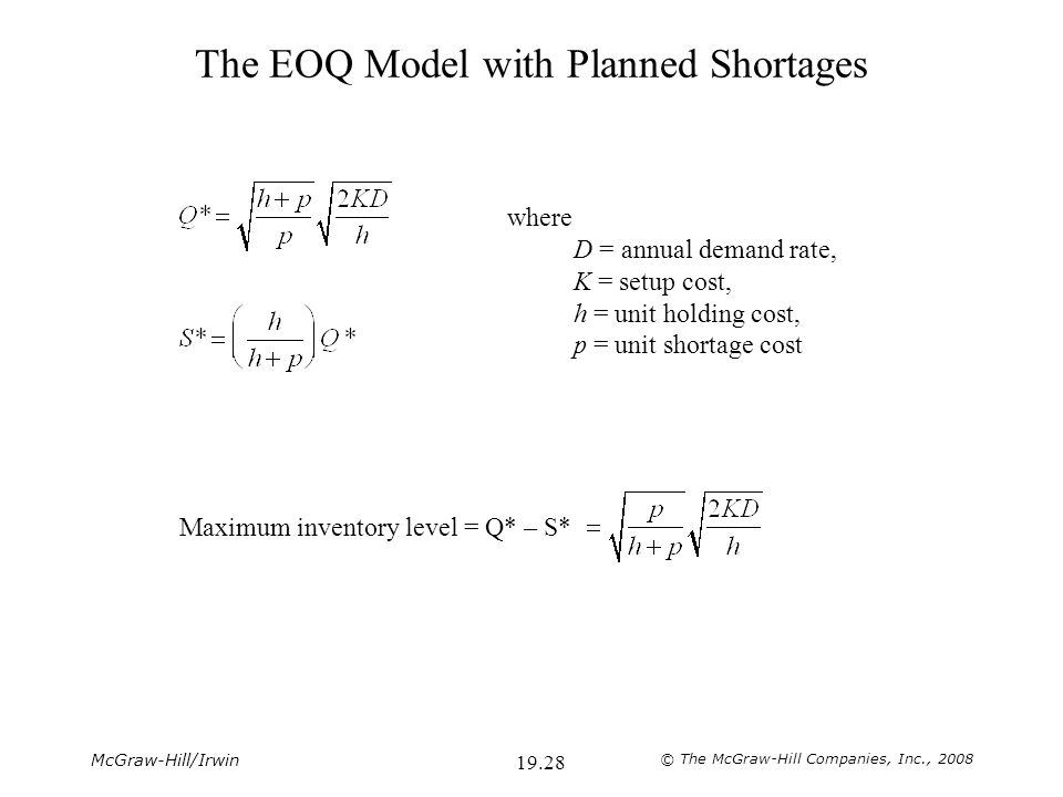 McGraw-Hill/Irwin © The McGraw-Hill Companies, Inc., 2008 19.28 The EOQ Model with Planned Shortages where D = annual demand rate, K = setup cost, h = unit holding cost, p = unit shortage cost Maximum inventory level = Q* – S*