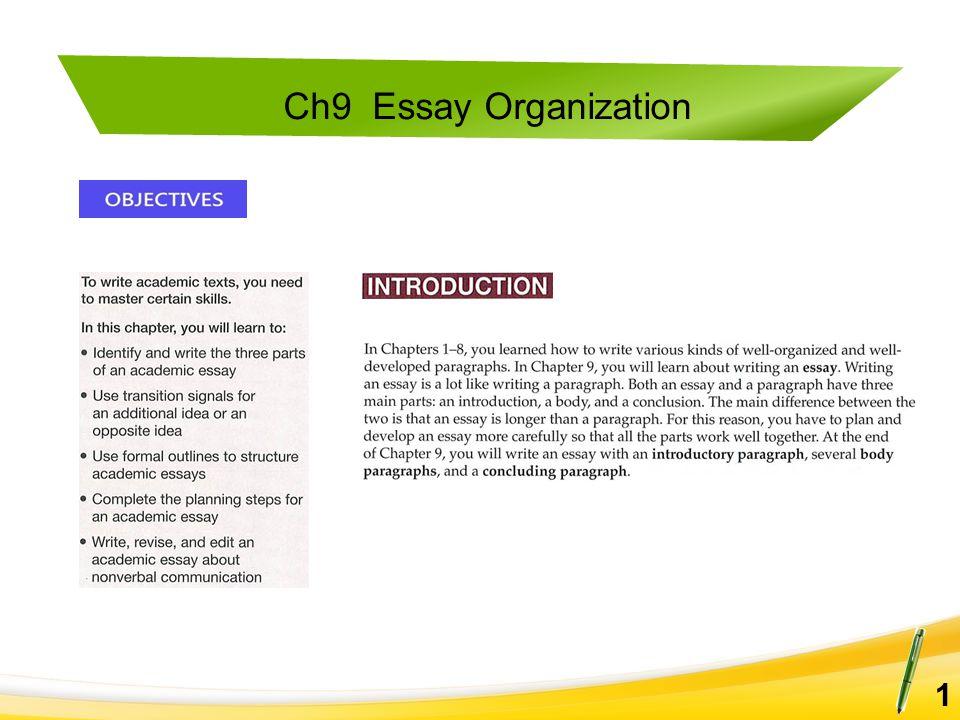 Ch9 Essay Organization 1