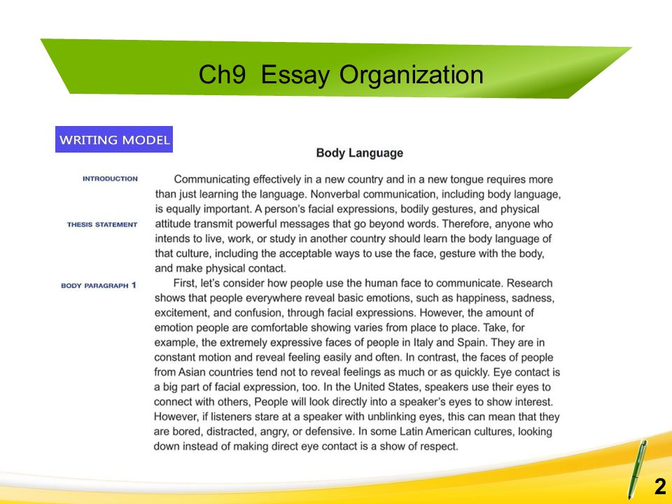 Ch9 Essay Organization 13 Read each introductory paragraph and set of topic sentences for body paragraphs.